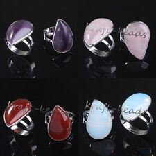 Silver Plated Amethyst Rose Quartz Teardrop Adjustable Stone Finger Ring Jewelry