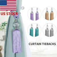 BY 1Pair Curtain Holdbacks Rope Tie Back Tassel Tieback Beaded Curtain Holder US