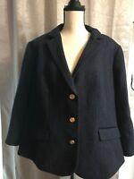 Talbots Navy Blue & Black Wool Blend Blazer Jacket Size 18W Fall Career Gold