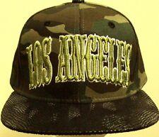 LA LOS ANGELES CITY WOODLAND CAMO FAUX SNAKESKIN PYTHON SKIN CAP HAT STRAPBACK