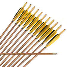 """Wolf""12x Handmade Bamboo Arrows for Recurve Bow Hunting High Quality Archery"