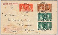 TRINIDAD & TOBAGO postal history: Coronation 1937 FDC COVER Registered to FRANCE