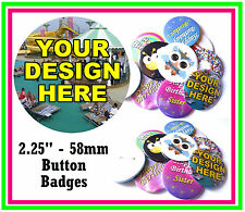 15 X 58mm Custom Button Pin Badges Personalised With You Own Design -