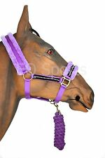 FAST P&P Fluffy Fleece Diamonte Head Collar and Leadrope Set ALL SIZES & COLOURS