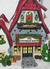 "Gingerbread Bakery Santas Christmas Workbench Winter Village 9x7"" Porcelain"