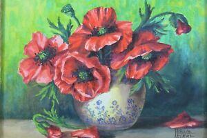 Tableau ancien Bouquet Fleur Nature morte Louise le Cerf st Blanche Odin 1930