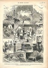 Bosnie-Herzégovine-Monténégro Guerre  des Balkans Serbie Ottoman GRAVURE 1876