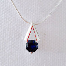 925 Sterling Silver Blue Sapphire Pyramid Triangle Charm Pendant Necklace P1368A