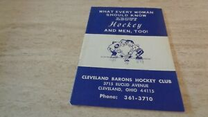 """1970's Cleveland Barons """"What Every Woman Should Know About Hockey"""" Booklet EXMT"""