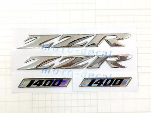 Raised 3D Chrome Silver Decals For ZZR1400 Emblem Fairing Gas Tank Sticker Bling