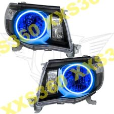 ORACLE Halo 2x HEADLIGHTS BLACK for Toyota Tacoma 05-11 BLUE LED Angel Eyes