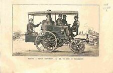 Voiture à Vapeur Construite par Jules-Albert de Dion & Trépardoux GRAVURE 1885