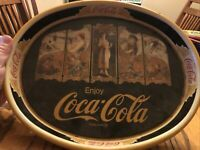 COCA-COLA Vintage Oval Metal Tray 4 SEASONS The Year Round Drink Design