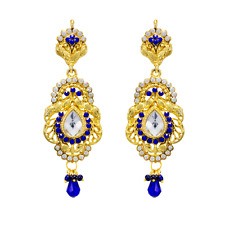 Beautiful Ethnic Danglers With CZ Stones And Blue Pearls
