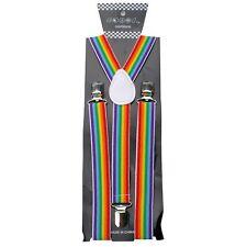 NEW PUNK GOTH CLIP ON BRACES Y-SHAPE SUSPENDERS ~ RAINBOW COLOR STRIPES #SP151