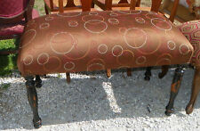 English Brown Circle Print End of Bed Bench / Entry Bench  (BN111)