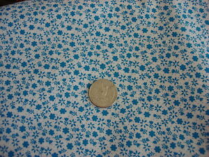 """Cotton Fabric SMALL TURQUOISE BLUE FLORAL & LEAF ON WHITE 1/2 Yd/45"""" Wide"""