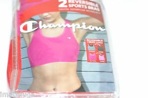 Champion Double Dry Reversible Breathable Mesh Sports Bra 2pk set Gray Pink S