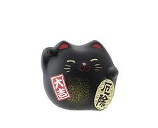Manekineko Chat Japonais Porte Bonheur Made In Japon Maneki Neko Noir Black 177