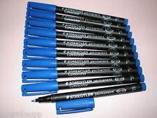10 x STAEDTLER Folienstift Lumocolor F permanent 318-3 blau OHP Pen Marker NEU