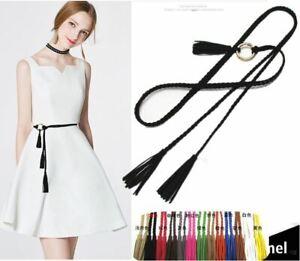 Women Bohemian Braid Long Suede leather Tassel Slim Waist Belt Ornament Belt