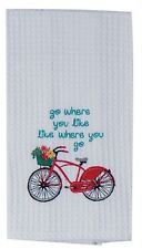 Kay Dee Designs Red Bike Waffle Towel Embroidered Cotton