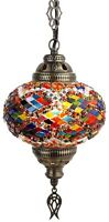 L, Turkish Moroccan Mosaic Ceiling Hanging Pendant Light Lamp Lantern Chandelier
