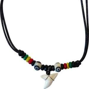 Shark Tooth Necklace Pendant Chain Mens Ladies Boys Girls Reggae Rasta Jewellery