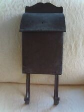 "Vintage Small Metal Mailbox Newspaper Holder Scalloped Top  12 by 6.5"" Copper?"