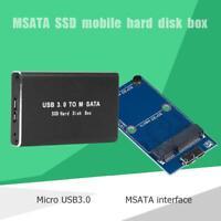 Mini USB 3.0 zu mSATA Adapter Festplattengehäuse Externes SSD-Festplattengehäuse