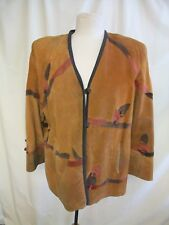 Ladies Leather Jacket size M, brown, unusual applique decor, needs cleaning 8221