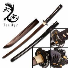 Japanese Samurai Sword Forged High Carbon Steel Copper Tone Damascus Steel Black