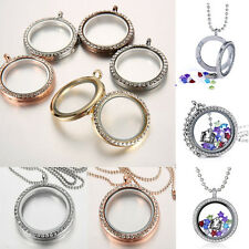 Living Memory Floating Charm Crystal Glass Round Locket Pendant Necklace 30mm