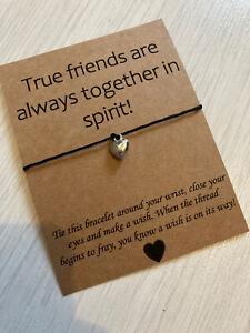 💕True Friends Distance Quote Heart Charm Friendship Wish bracelet Gift 💕