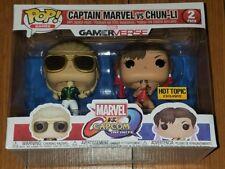 Funko Pop 2-Pack Captain Marvel vs Chun-Li Marvel v Capcom Hot Topic Ex In Hand