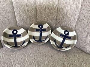Set Of 3 Mud Pie Bowls Condiment Sauce Dip Blue White Stripe Anchors Nautical