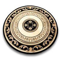 Teppich Versace Muster Rund Schwarz 150x150 Seidig Barock Medusa Carpet Rug 649