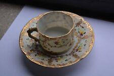 Antique Vintage Thin Porcelain Hand-Painted Flowers Gold Gilt Cup & Saucer Set