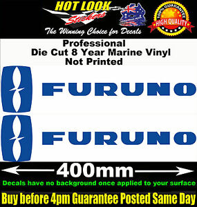 Furuno Stickers x2 400mm Decals Fishing Boat Fish Finder radar system Trailer.