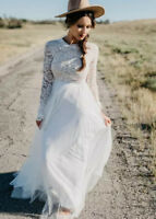 Bohemian Country Wedding Dresses Long Sleeves A Line Lace Boho Bridal Gowns