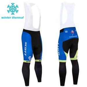 Men's Winter Bike Bibs Cycling Fleece Pants Riding Race Thermal Long Tights Gear