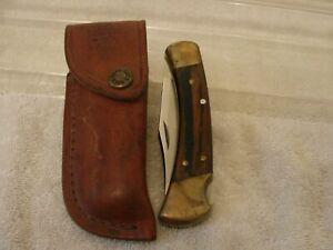 "BUCK KNIFE 110C WITH LEATHER CASE NICE SHAPE LOCK BLADE 8-1/2"" FOLDED 4-1/2"""