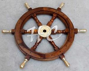 "18"" Wooden Steering Boat BRASS SPOKE Captains Maritime Nautical Beach Ship Wheel"