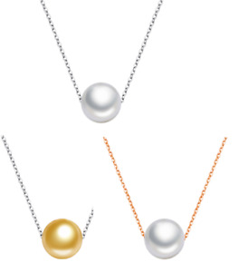 """925 Sterling Silver Floating 10mm Natural Shell Pearl Pendant Necklace 18"""" PE33"""