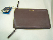 Lodis Kate Lani  Double Zip Chocolat Brown Pebble Leather Wallet New NWT Papyrus