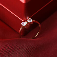 18K Gold Plated Finger Bow Wedding engagement Zircon Crystal shine Ring one gift