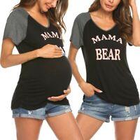 Women Maternity Short Sleeve Tops V Neck Letter Blouse Pregnant T Shirt