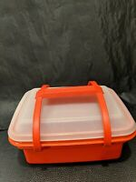 Red Vintage Tupperware Pack N Carry Lunch Box Lid & Handle #1254