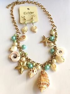 "Gold Sea Life Necklace & Earrings Set Conch Shiva Shell Starfish 23"" Plated"