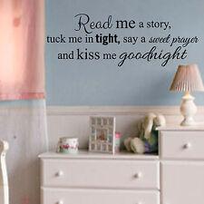 Read me a story, kiss me goodnight, girl, boy, baby, nursery, vinyl wall decal